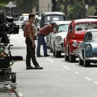 Photo - MOVIE: Cars line up for a shot on the set of the film