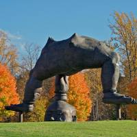 """Photo - This undated image provided by Storm King Art Center in New Windsor, N.Y., shows """"Three-Legged Buddha"""" by Zhang Huan, one of more than 100 outdoor sculptures at the unique art park set amid rolling hills and fields in the Hudson Valley, just north of New York City. It's one of a number of destinations in the region, and autumn is a particularly nice time of year to visit. (AP Photo/Storm King Art Center)"""