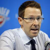 Photo - NBA BASKETBALL: Oklahoma City Thunder general manager Sam Presti speaks about the NBA draft during a press conference in Oklahoma City, Thursday, June 23, 2011.  Photo by Bryan Terry, The Oklahoman ORG XMIT: KOD
