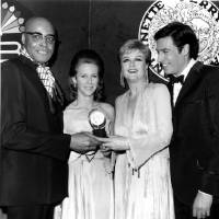 Photo - File-This April 20, 1969 file photo shows Broadway stars, from left, James Earl Jones, Julie Harris, Angela Lansbury and Jerry Orbach pose on stage after receiving Tony awards at the 23rd Annual Tony Awards ceremony at New York's Mark Hellinger Theatre.  Harris, who won an unprecedented five Tony Awards for best actress, has died. She was 87. Actress and family friend Francesca James says Harris died Saturday Aug. 24, 2013 at her home in West Chatham, Mass. She had previously suffered two strokes. (AP Photo/File)