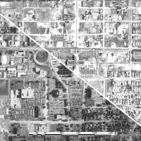 Photo - Historic aerial photos allow field inspectors at the Oklahoma Corporation Commission to pinpoint oil and natural gas wells. This photo shows the area around the state Capitol in Oklahoma City in 2010, at left, and 1941.