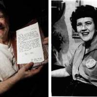 Photo - Left: John Bennett holds one of his many letters from Julia Child.   Photo By Nate Billings, The Oklahoman  Right: This 1967 photo shows Julia Child explaining