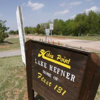 Photo - This sign announces the entrance for Hobie Point at Lake Hefner in Oklahoma City, OK, where police have made a number of arrests for lewd conduct, Friday, April 24, 2009. BY PAUL HELLSTERN, THE OKLAHOMAN ORG XMIT: KOD