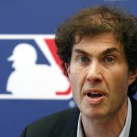 Photo - FILE - This April 21, 2011 file photo shows baseball players union head Michael Weiner speaking at a news conference in New York. Weiner, the plain-speaking, ever-positive labor lawyer who took over as head of the powerful baseball players' union four years ago and smoothed the group's perennially contentious relationship with management, died Thursday, Nov. 21, 2013, 15 months after announcing he had been diagnosed with an inoperable brain tumor. He was 51. A memorial for Weiner was held Monday, Jan. 20, 2014. (AP Photo/Frank Franklin II, File)