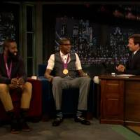 Photo - Thunder teammates Kevin Durant and James Harden were guests on Late Night with Jimmy Fallon in New York City. Tuesday, August 14, 2012.