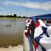 Photo -  Racers approach the finish line at the Stars and Stripes Festival regatta June 29, 2013, on the Oklahoma River at the Boathouse District. Archive Photo by Jim Beckel, The Oklahoman    Jim Beckel -