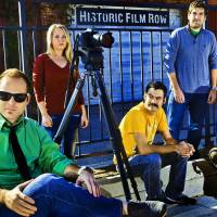 Photo - Director Kyle Roberts, left, poses for a photo with make-up artist Jenny Hausam, production assistant Jason Oser, editor Hal Gatewood, and writer/actor Lucas Ross, from left, in Oklahoma City's historic film row. All members of this group participated in the episode of