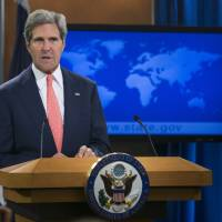 Photo - Secretary of State John Kerry speaks at the State Department in Washington, Monday, Aug. 26, 2013, about the situation in Syria. Kerry said chemical weapons were used in Syria, and accused Assad of destroying evidence. (AP Photo/Manuel Balce Ceneta)