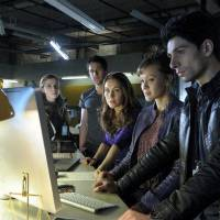 Photo -  Sara Canning as Dylan Weir. Niall Matter as Evan Cross, Miranda Frigon as Angelika Finch, Crystal Lowe as Toby Nance, Danny Rahim as Mac Rendell -- (Photo by: Ed Araquel/Syfy)