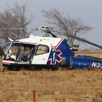 Photo - The Mediflight helicopter's pilot, two nurses and a paramedic were injured in the emergency landing.
