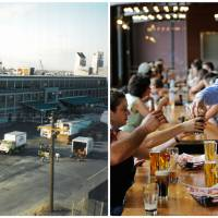 Photo - This combination photo shows, left, a 1986 photo provided by the Harpoon Brewery of the brewery under construction and right, patrons sampling a variety of beers at the Beer Hall on July 1, 2013 in Boston. Harpoon Brewery opened on the South Boston waterfront in 1986, when it was surrounded by auto body shops and little else. Now the brewery draws more than 85,000 people a year from tours and tastings, and thousands more from festivals. (AP Photo/Harpoon Brewery)
