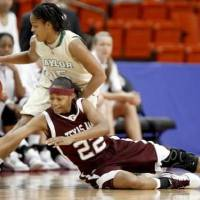 Photo - Baylor's Jhasmin Player and Texas A&M's Tanisha Smith go for the ball during the championship game of the Big 12 Women's Basketball Championship between  Baylor and Texas A&M at the Cox center in Oklahoma City, Sunday, March 15, 2009. PHOTO BY BRYAN TERRY, THE OKLAHOMAN