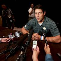 Photo - Baylor quarterback Bryce Perry speaks to reporters during the NCAA college Big 12 Conference Football media days in  Dallas, Monday, July 21, 2014. (AP Photo/LM Otero)