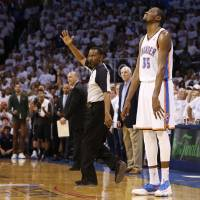 Photo -  Oklahoma City's Kevin Durant (35) reacts after missing a shot late in overtime of Game 6 of the Western Conference Finals in the NBA playoffs between the Oklahoma City Thunder and the San Antonio Spurs at Chesapeake Energy Arena in Oklahoma City, Saturday, May 31, 2014. Oklahoma City lost 112-107. Photo by Bryan Terry, The Oklahoman