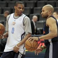 Photo - CHESAPEAKE ENERGY ARENA / OKLAHOMA CITY THUNDER / MIAMI HEAT / NBA FINALS / NBA BASKETBALL: Russell Westbrook and Derek Fisher talk during practice for game two of the NBA basketball finals at the Chesapeake Arena on Wednesday, June 13, 2012 in Oklahoma City, Okla.  Photo by Steve Sisney, The Oklahoman