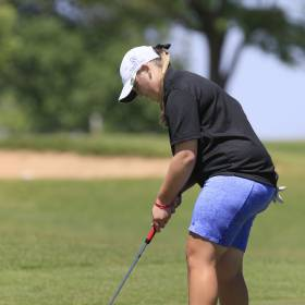 Newcastle's Chloe Black putts during the class 4A girls golf state tournament at Lake Hefner Golf Course in Oklahoma City, OK, Wednesday, May 4, 2016,  Photo by Paul Hellstern, The Oklahoman