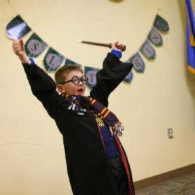 Jackson Bryan, 7, plays Quidditch during Harry Potter Book Night at The Village Library. [Photo by Bryan Terry, The Oklahoman]