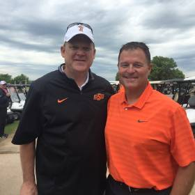 Oklahoma State men\'s basketball coach Brad Underwood (left) and longtime college friend Garth...