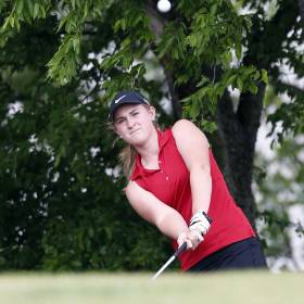 Purcell's Ashton Nemecek chips the ball onto the 12th green during the 3A girls state golf tournament in Checotah, OK, May 8, 2014. STEPHEN PINGRY/Tulsa World
