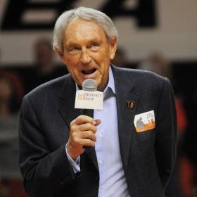 Eddie Sutton talks to the crowd at an OSU game two years ago. (Photo by K.T. King)