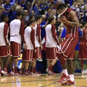 Oklahoma guard Buddy Hield walks off the floor following an NCAA college basketball game against Kansas in Lawrence, Kan., Monday, Jan. 4, 2016. Hield scored 46 points in the game. Kansas defeated Oklahoma 109-106 in triple overtime. (AP Photo/Orlin Wagner)