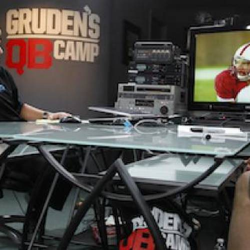 Monday Night Football analyst Jon Gruden reviews film with Andrew Luck before last year's NFL Draft.