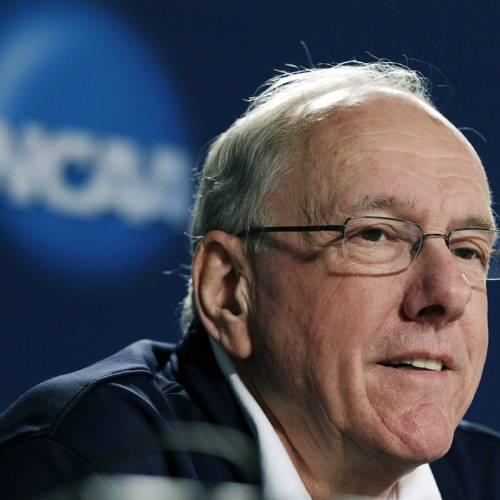 FILE - In this March 23, 2012, file photo, Syracuse head coach Jim Boeheim speaks during a news conference in Boston. A judge on Friday, May 11, threw out a defamation lawsuit brought against Syracuse University and Boeheim by two men who said the Hall of Fame coach slandered them when he said their accusations of sexual abuse against former associate head coach Bernie Fine were driven by greed. (AP Photo/Elise Amendola, File)