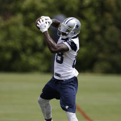 Dallas Cowboys wide receiver Dez Bryant (88) goes up to grab a pass during an NFL football organized team activity, Monday, June 2, 2014, in Irving, Texas. (AP Photo/Tony Gutierrez)