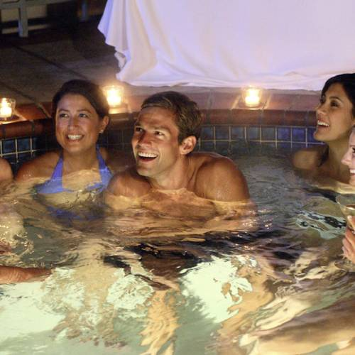 "UNITED STATES - FEBRUARY 07: THE BACHELOR: OFFICER AND A GENTLEMAN - ""Episode 1002"" - As 15 bachelorettes settle into a mansion in the Hollywood Hills, the fairy tale begins. On his first group date, Andy and seven striking ladies take the Sunset Strip by storm with an evening of cocktails and bull riding that ends in the hot tub. Bevin can't handle the competition, becoming irritated, and seethes over perceived slights. Then one lucky bachelorette is singled out to spend a romantic evening aboard the Bachelor's private yacht, on ""The Bachelor: Officer and a Gentleman,"" MONDAY, APRIL 9 (9:30-11:00 p.m., ET), on the ABC Television Network. (Photo by Adam Larkey/ABC via Getty Images)"