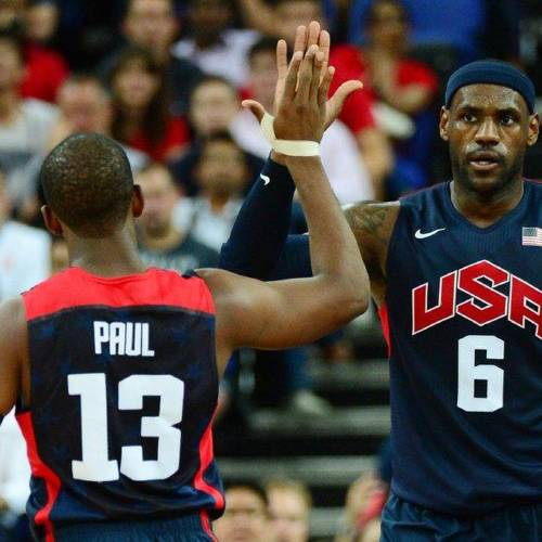 Aug 10, 2012; London, United Kingdom; USA guard Chris Paul (13) celebrates with teammate LeBron James (6) during the men's basketball semifinals against Argentina in the London 2012 Olympic Games at North Greenwich Arena. Mandatory Credit: Kyle Terada-USA TODAY Sports