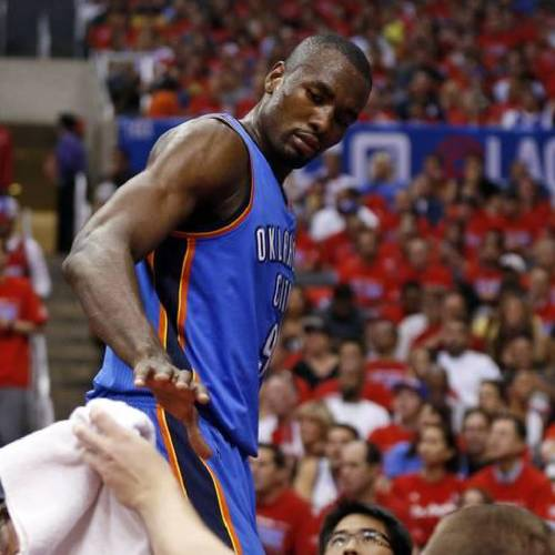 Oklahoma City's Serge Ibaka (9) leaves the floor in the second half during Game 6 of the Western Conference semifinals in the NBA playoffs between the Oklahoma City Thunder and the Los Angeles Clippers at the Staples Center in Los Angeles, Thursday, May 15, 2014. Photo by Nate Billings, The Oklahoman
