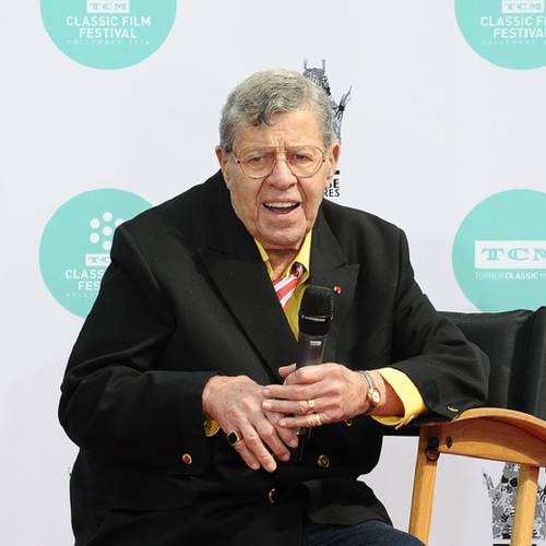 HOLLYWOOD, CA - APRIL 12: Comedian Jerry Lewis is honored with a Hand And Footprint Ceremony at TCL Chinese Theatre IMAX on April 12, 2014 in Hollywood, California. (Photo by Jason LaVeris/FilmMagic)
