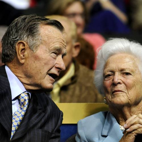 In this Sept. 2, 2008 file photo, former U.S. President George H.W. Bush, left, and former first lady Barbara Bush are seen at the Republican National Convention in St. Paul, Minn. A family spokesman said Wednesday, March 4, 2009 that former first lady Barbara Bush had successful open heart surgery. (AP Photo/Susan Walsh, File)