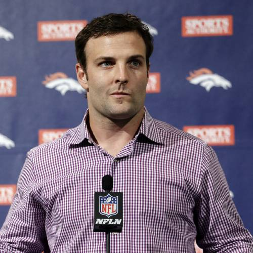 Newly acquired Denver Broncos wide receiver Wes Welker speaks at an NFL football news conference announcing his $12 million, two-year contract, Thursday, March 14, 2013, in Englewood, Colo. (AP Photo/Ed Andrieski) ORG XMIT: COEA105