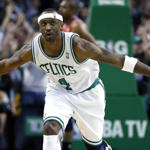Boston Celtics' Jason Terry (4) reacts to his 3-pointer in overtime during an NBA basketball game against the Atlanta Hawks in Boston, Friday, March 8, 2013. The Celtics won 107-102. (AP Photo/Michael Dwyer) ORG XMIT: MAMD106