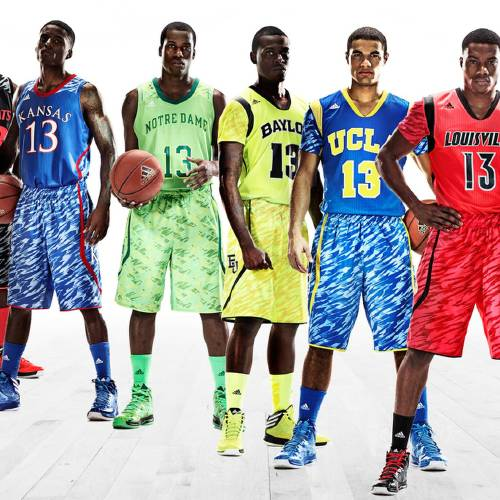This undated image provided by Adidas shows models wearing new college basketball uniforms for, from left, Cincinnati, Kansas, Notre Dame, Baylor, UCLA and Louisville. (AP Photo/Adidas) ORG XMIT: NY153