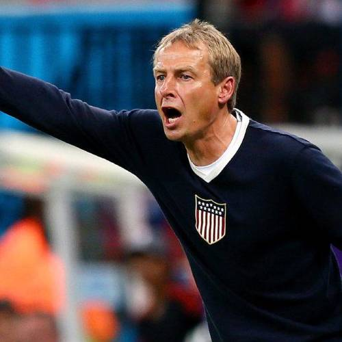 MANAUS, BRAZIL - JUNE 22: Head coach Jurgen Klinsmann of the United States gestures during the 2014 FIFA World Cup Brazil Group G match between the United States and Portugal at Arena Amazonia on June 22, 2014 in Manaus, Brazil. (Photo by Kevin C. Cox/Getty Images)