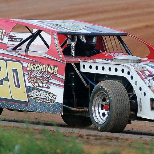 A driver makes a few laps at Enid Speedway on the Garfield County Fairgrounds. Racing resumes Saturday. (Enid News & Eagle photo)
