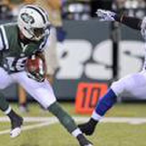 New York Jets wide receiver Jalen Saunders (16) avoids Indianapolis Colts cornerback Loucheiz Purifoy (6) in the fourth quarter of a preseason NFL football game, Thursday, Aug. 7, 2014, in East Rutherford, N.J. (AP Photo/Bill Kostroun)