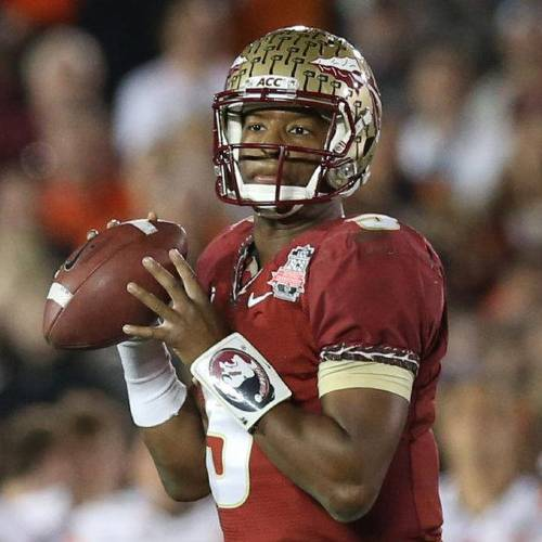 Jan 6, 2014; Pasadena, CA, USA; Florida State Seminoles quarterback Jameis Winston (5) in action against the Auburn Tigers for the 2014 BCS National Championship game at the Rose Bowl. Mandatory Credit: Matthew Emmons-USA TODAY Sports