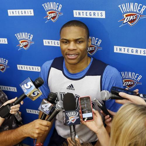 Russell Westbrook speaks during media availability after practice for the Oklahoma City Thunder NBA basketball team in Oklahoma City, Wednesday, April 23, 2014. Photo by Nate Billings, The Oklahoman