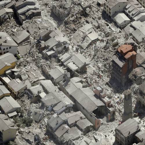 Aerial view of Amatrice in central Italy, Wednesday, Aug. 24, 2016, as it appears after a...