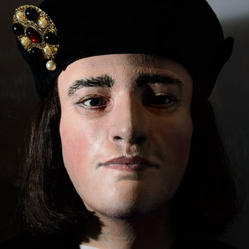 A forensic reconstruction of the head of King Richard III is displayed in the new visitor's centre on the site where his remains were discovered, in Leicester, central England, on July 24, 2014. The centre tells the story of his rise to power, his death in battle and the discovery of his bones, as well as raising questions on how his disability should be portrayed in theatre and film. Exhibits include a remarkably detailed facial reconstruction, and a replica of Richards skeleton that clearly shows his curved spine, as well as his battle injuries, including the fatal blow. Opening on July 26, 2014, the centre hopes to attract up to 100,000 visitors in it's first year. AFP PHOTO/Leon Neal (Photo credit should read LEON NEAL/AFP/Getty Images)