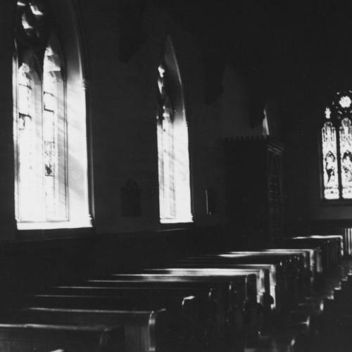 circa 1920: Stained glass windows in the south aisle of Christ Church Cathedral, a structure built in the revived Gothic style in Fredericton, New Brunswick. (Photo by Edward Charles Le Grice/Hulton Archive/Getty Images)