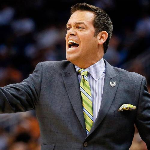 ORLANDO, FL - MARCH 20: Head coach Steve Masiello of the Manhattan Jaspers shouts to his players against the Louisville Cardinals during the second round of the 2014 NCAA Men's Basketball Tournament at Amway Center on March 20, 2014 in Orlando, Florida. (Photo by Kevin C. Cox/Getty Images)