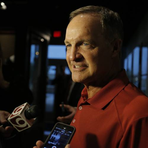 University of Oklahoma men's basketball coach Lon Kruger talks to the media during the Sooner Caravan at the Jim Thorpe Museum in Oklahoma City, Okla. on Wednesday, July 30, 2014. Photo by Chris Landsberger, The Oklahoman