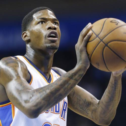 FILE - In this Feb. 6, 2013 file photo, Oklahoma City Thunder guard DeAndre Liggins (25) shoots a foul shot against the Golden State Warriors during an NBA basketball game in Oklahoma City. Liggins has signed a 10-day contract with the Miami Heat. Liggins has played in 56 NBA games for Oklahoma City and Orlando.(AP Photo/Sue Ogrocki, File)