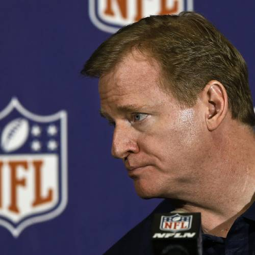 NFL Commissioner Roger Goodell listens to a reporter's question during a news conference at the annual NFL football meetings at the Arizona Biltmore, Wednesday, March 20, 2013, in Phoenix. (AP Photo/Ross D. Franklin) ORG XMIT: AZRF121