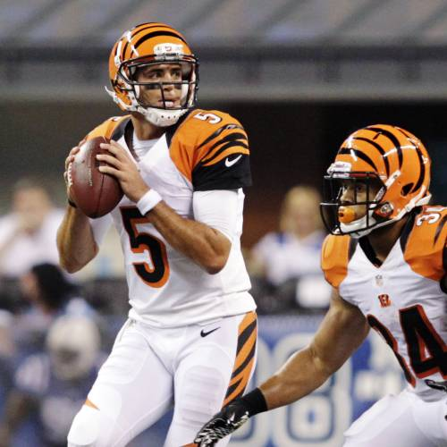 Cincinnati Bengals quarterback Zac Robinson throws against the Indianapolis Colts in the second half of an NFL preseason football game in Indianapolis, Thursday, Aug. 30, 2012. (AP Photo/AJ Mast)