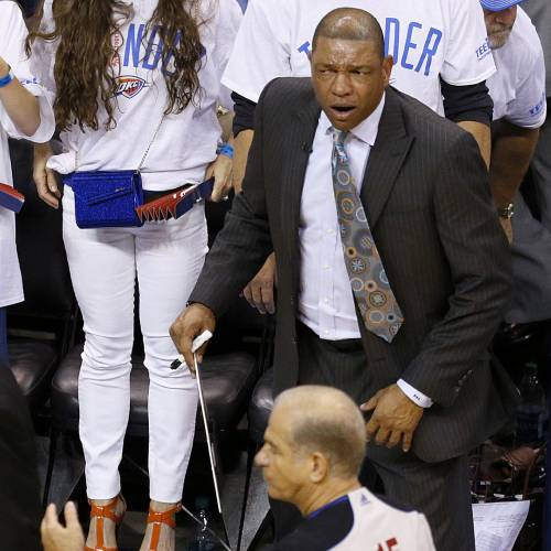Clippers coach Doc Rivers shouts towards official Bennett Salvatore after the a possession call late in Game 5 of the Western Conference semifinals in the NBA playoffs between the Oklahoma City Thunder and the Los Angeles Clippers at Chesapeake Energy Arena in Oklahoma City, Tuesday, May 13, 2014. Photo by Bryan Terry, The Oklahoman